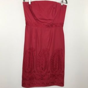 Ann Taylor embroidered sheath dress red size 8